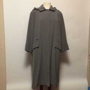 Anne Klein Gray Hooded Trench Sz 16